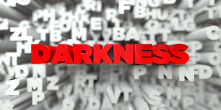 darkness: DARKNESS -  Red text on typography background - 3D rendered royalty free stock image. This image can be used for an online website banner ad or a print postcard.