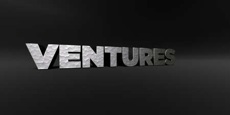 ventures: VENTURES - hammered metal finish text on black studio - 3D rendered royalty free stock photo. This image can be used for an online website banner ad or a print postcard.