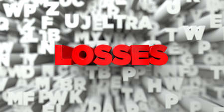 royalty: LOSSES -  Red text on typography background - 3D rendered royalty free stock image. This image can be used for an online website banner ad or a print postcard.