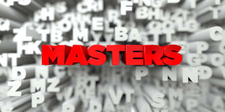 MASTERS -  Red text on typography background - 3D rendered royalty free stock image. This image can be used for an online website banner ad or a print postcard. Stock Photo