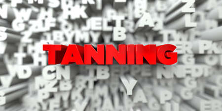 tanning: TANNING -  Red text on typography background - 3D rendered royalty free stock image. This image can be used for an online website banner ad or a print postcard.