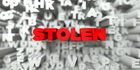 free stock: STOLEN -  Red text on typography background - 3D rendered royalty free stock image. This image can be used for an online website banner ad or a print postcard.