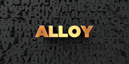 alloy: Alloy - Gold text on black background - 3D rendered royalty free stock picture. This image can be used for an online website banner ad or a print postcard.