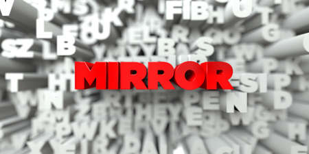 sentence typescript: MIRROR -  Red text on typography background - 3D rendered royalty free stock image. This image can be used for an online website banner ad or a print postcard. Stock Photo