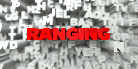 ranging: RANGING -  Red text on typography background - 3D rendered royalty free stock image. This image can be used for an online website banner ad or a print postcard. Stock Photo