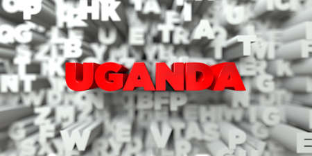 sentence typescript: UGANDA -  Red text on typography background - 3D rendered royalty free stock image. This image can be used for an online website banner ad or a print postcard. Stock Photo