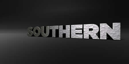 SOUTHERN - hammered metal finish text on black studio - 3D rendered royalty free stock photo. This image can be used for an online website banner ad or a print postcard. Stock Photo