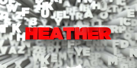 heather: HEATHER -  Red text on typography background - 3D rendered royalty free stock image. This image can be used for an online website banner ad or a print postcard. Stock Photo
