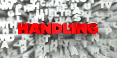 handling: HANDLING -  Red text on typography background - 3D rendered royalty free stock image. This image can be used for an online website banner ad or a print postcard.