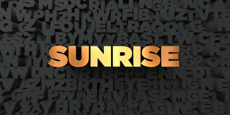 Sunrise - Gold text on black background - 3D rendered royalty free stock picture. This image can be used for an online website banner ad or a print postcard.