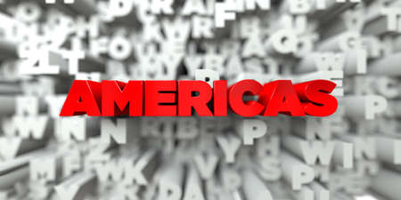 AMERICAS -  Red text on typography background - 3D rendered royalty free stock image. This image can be used for an online website banner ad or a print postcard. Stock Photo