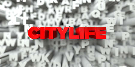 CITYLIFE -  Red text on typography background - 3D rendered royalty free stock image. This image can be used for an online website banner ad or a print postcard. Stock Photo