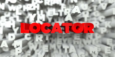 LOCATOR -  Red text on typography background - 3D rendered royalty free stock image. This image can be used for an online website banner ad or a print postcard.