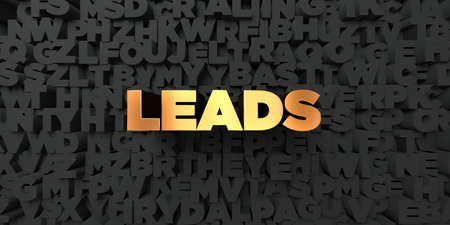leads: Leads - Gold text on black background - 3D rendered royalty free stock picture. This image can be used for an online website banner ad or a print postcard. Stock Photo