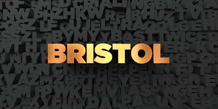 bristol: Bristol - Gold text on black background - 3D rendered royalty free stock picture. This image can be used for an online website banner ad or a print postcard.