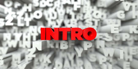 INTRO -  Red text on typography background - 3D rendered royalty free stock image. This image can be used for an online website banner ad or a print postcard.