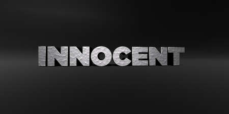 innocent: INNOCENT - hammered metal finish text on black studio - 3D rendered royalty free stock photo. This image can be used for an online website banner ad or a print postcard. Stock Photo