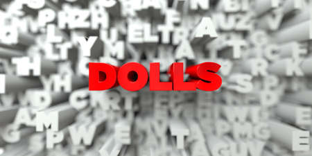 3d doll: DOLLS -  Red text on typography background - 3D rendered royalty free stock image. This image can be used for an online website banner ad or a print postcard.