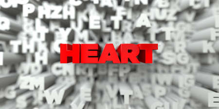HEART -  Red text on typography background - 3D rendered royalty free stock image. This image can be used for an online website banner ad or a print postcard. Stock Photo