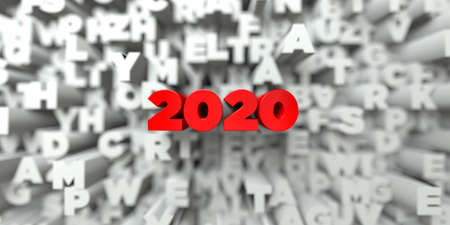 2020 -  Red text on typography background - 3D rendered royalty free stock image. This image can be used for an online website banner ad or a print postcard. Imagens