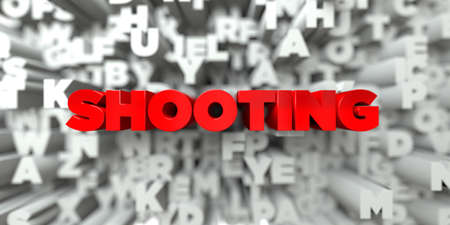 sentence typescript: SHOOTING -  Red text on typography background - 3D rendered royalty free stock image. This image can be used for an online website banner ad or a print postcard. Stock Photo