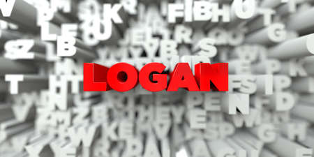 LOGAN -  Red text on typography background - 3D rendered royalty free stock image. This image can be used for an online website banner ad or a print postcard. Stock Photo