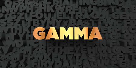 gamma: Gamma - Gold text on black background - 3D rendered royalty free stock picture. This image can be used for an online website banner ad or a print postcard. Stock Photo