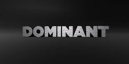 dominant: DOMINANT - hammered metal finish text on black studio - 3D rendered royalty free stock photo. This image can be used for an online website banner ad or a print postcard.