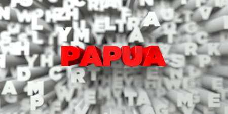 PAPUA -  Red text on typography background - 3D rendered royalty free stock image. This image can be used for an online website banner ad or a print postcard. Stock Photo