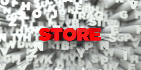STORE -  Red text on typography background - 3D rendered royalty free stock image. This image can be used for an online website banner ad or a print postcard. Stock Photo