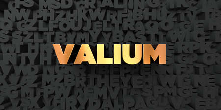 valium: Valium - Gold text on black background - 3D rendered royalty free stock picture. This image can be used for an online website banner ad or a print postcard. Stock Photo