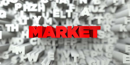 MARKET -  Red text on typography background - 3D rendered royalty free stock image. This image can be used for an online website banner ad or a print postcard.