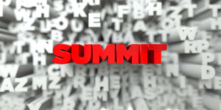 SUMMIT -  Red text on typography background - 3D rendered royalty free stock image. This image can be used for an online website banner ad or a print postcard. Stock Photo