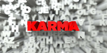 KARMA -  Red text on typography background - 3D rendered royalty free stock image. This image can be used for an online website banner ad or a print postcard.