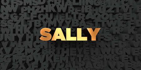 サリー - 黒地にゴールド テキスト - 3 D レンダリングされたロイヤリティ フリー ストック画像。この画像は、オンラインの web サイトのバナー広告や印刷はがきの使用できます。 写真素材 - 67495286