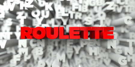 online roulette: ROULETTE -  Red text on typography background - 3D rendered royalty free stock image. This image can be used for an online website banner ad or a print postcard.