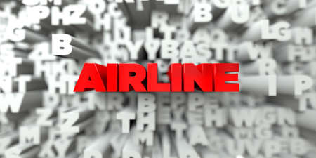 sentence typescript: AIRLINE -  Red text on typography background - 3D rendered royalty free stock image. This image can be used for an online website banner ad or a print postcard.