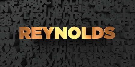 reynolds: Reynolds - Gold text on black background - 3D rendered royalty free stock picture. This image can be used for an online website banner ad or a print postcard. Stock Photo