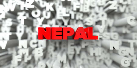 NEPAL -  Red text on typography background - 3D rendered royalty free stock image. This image can be used for an online website banner ad or a print postcard.