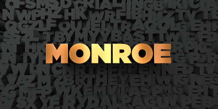 monroe: Monroe - Gold text on black background - 3D rendered royalty free stock picture. This image can be used for an online website banner ad or a print postcard.