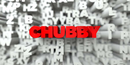 CHUBBY -  Red text on typography background - 3D rendered royalty free stock image. This image can be used for an online website banner ad or a print postcard.