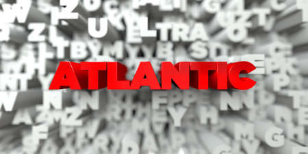 atlantic: ATLANTIC -  Red text on typography background - 3D rendered royalty free stock image. This image can be used for an online website banner ad or a print postcard.