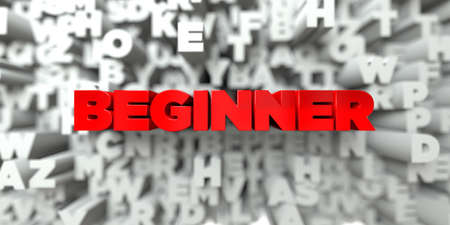 beginner: BEGINNER -  Red text on typography background - 3D rendered royalty free stock image. This image can be used for an online website banner ad or a print postcard.