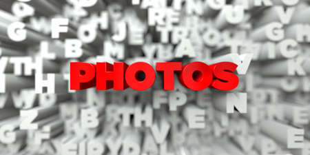 royalty free photo: PHOTOS -  Red text on typography background - 3D rendered royalty free stock image. This image can be used for an online website banner ad or a print postcard.