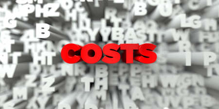 costs: COSTS -  Red text on typography background - 3D rendered royalty free stock image. This image can be used for an online website banner ad or a print postcard.