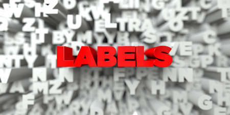 free stock: LABELS -  Red text on typography background - 3D rendered royalty free stock image. This image can be used for an online website banner ad or a print postcard. Stock Photo