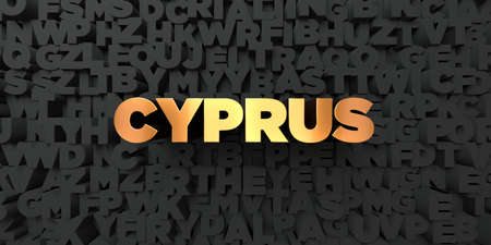 Cyprus - Gold text on black background - 3D rendered royalty free stock picture. This image can be used for an online website banner ad or a print postcard.