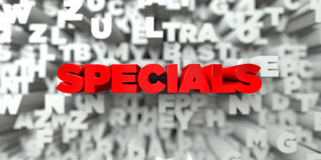online specials: SPECIALS -  Red text on typography background - 3D rendered royalty free stock image. This image can be used for an online website banner ad or a print postcard.