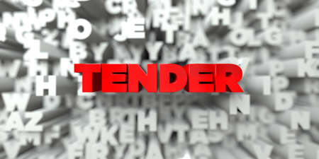 TENDER -  Red text on typography background - 3D rendered royalty free stock image. This image can be used for an online website banner ad or a print postcard.