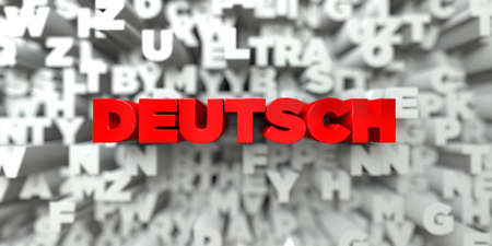 deutsch: DEUTSCH -  Red text on typography background - 3D rendered royalty free stock image. This image can be used for an online website banner ad or a print postcard.